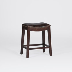 Frasier Counter Stool - The Frasier Stool offers new vintage furniture style in a rustic yet refined counter height stool. Made of oak with a dark chestnut finish, it features a gracefully curved top grain leather seat and nailhead trim. Pull up a few nice Frasier stools for a casual and inviting look.