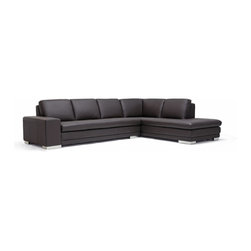 Baxton Studio - Baxton Studios Callidora Dark Brown Leather Sofa Sectional - This is one leather couch with both size and style that will not disappoint. While the dark brown sectional comfortably seats four, it can fit up to six individuals if the need arises. The design is somewhat understated, but includes details such as the mirrored feet that add to its intrigue and charm. The brown leather upholsters all the top portions of both the seat cushions and back cushions. The rest of the sectional is covered with a closely-matched vinyl. The interior cushioning is high-density polyurethane foam, which provides you and your guests with a medium-firm relaxation experience.
