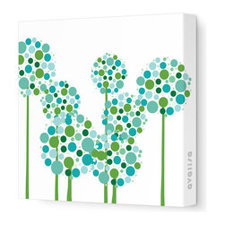 """Avalisa - Imagination - Allium Stretched Wall Art, Green, 28"""" x 28"""" - Art is the best way to add personality to your home. These clusters of multi-hued flowers would bring a pop art vibe to a blank wall and liven up your space. The stretched canvas means it's ready to hang and you don't even have to worry about framing. Ready, set, decorate!"""