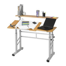 """Safco - Split-Level Drafting Table in Medium Oak Finish - Modern design. Shelf holds up to 50 lbs. weight. Table top tilts up to a 50 degree angle. Made from woodgrain melamine. Height: 26 - 37.25 in.. Top: 47.25 in. L x 10 in. W. Side Worksurface: 15.75 in. L x 19.75 in. W (side). Tilt Table Top: 31.50 in. L x 19.75 in. W. Overall: 47.25 in. W x 29.75 in. D x 26 - 37.25 in. H (68 lbs.). Assembly InstructionGet the results you desire with The Height Adjustable Split Level Drafting Table. The station functions as your personal drafting table, work space and shelving area, computer desk and more. It's great for home or office use for students, architects, engineers or artists. Tables can easily be lowered to serve as one flat working surface or raised to perform as a standing height workstation. With all this function you can easily go from drafting to everyday projects without hassle. Now that's work flow. Elevate your workspace. Enhance your performance. Accommodate your needs. Ideal for a variety of users ranging from students and architects to engineers and designers. The station functions as your personal drafting table, work space and shelving area, computer desk, and more. Tables can easily be lowered to serve as one flat working surface or raised to perform as a standing height workstation. Adjustable and durable, the Split level workstation features a strong steel frame and wood grain melamine top. Table has a height adjustment of 26 to 37-1/4 """". The modern style and many utilities of the Height Adjustable Split Level Drafting Table is a workstation dream come true!"""