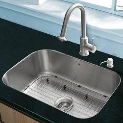 """Vigo - All in One 23"""" Undermount Stainless Steel Kitchen Sink and Faucet Set - Breathe new life into your kitchen with a VIGO All in One Kitchen Set featuring a 23"""" Undermount kitchen sink, faucet, soap dispenser, matching bottom grid, and sink strainer.; The VG2318 single bowl sink is manufactured with 18 gauge premium 304 Series stainless steel construction with commercial grade premium satin finish; Fully undercoated and padded with a unique multi layer sound eliminating technology, which also prevents condensation.; All VIGO kitchen sinks are warranted against rust; Exterior dimensions: 23""""W x 17 3/4""""D; Interior dimensions: 21""""W x 15 3/4""""D; Depth: 9""""; Required interior cabinet space: 25""""; Kitchen sink is cUPC and NSF-61 certified by IAPMO; All mounting hardware and cutout template provided for 1/8"""" reveal or flush installation; The VG02012ST kitchen faucet features a dual function pull-out spray head for aerated flow or powerful spray, and is made of solid brass with a stainless steel finish; Includes a spray face that resists mineral buildup and is easy-to-clean; High-quality ceramic disc cartridge; Retractable 360-degree swivel spout expandable up to 30""""; Single lever water and temperature control; All mounting hardware and hot/cold waterlines are included; Water pressure tested for industry standard, 2.2 GPM Flow Rate; Standard US plumbing 3/8"""" connections; Faucet height: 16 3/4""""; Spout reach: 8 7/8""""; Kitchen faucet is cUPC, NSF-61, and AB1953 certified by IAPMO; Faucet is ADA Compliant; 2-hole installation with soap dispenser; VGSD001ST soap dispenser is constructed of solid brass with a stainless steel finish and fits 1 1/2"""" opening with a 3 1/2"""" spout projection.; Matching bottom grids are chrome-plated stainless steel with vinyl feet and protective bumpers; Sink strainer is made of durable solid brass in chrome finish; All VIGO kitchen sinks and faucets have a Limited Lifetime Warranty"""