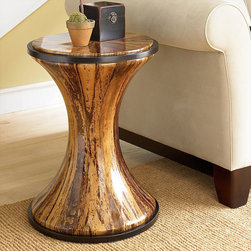 """Hammary - Boracay Banana Bark Round Accent Table - Add an elegant and completely unique look to a myriad of rooms in your home with the Boracay collection. Featuring a lattice motif throughout each piece in this group, it gives off a feel of exotic and natural furniture. Sweeping curvatures and a deep brown finish outfit the pieces of this collection, as well as warm finished handle pull hardware. Outfit your living room or home office with tables, storage, display, and chairs that will be completely distinctive to your home, and last for years to come with the Boracay collection.; Boracay Collection; Finish:; Banana Bark; Weight: 1 lbs.; Dimensions: 18""""W x 18""""D x 24""""H"""