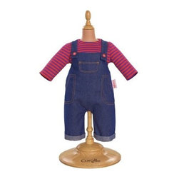 Corolle Mon Classiques Bebe 14 in. Denim Overalls Doll Ensemble - Your little one's Corolle Mon Bebe Classiques dolly will be ready to play dressed in her Corolle Mon Classiques Bebe 14 in. Denim Overalls Doll Ensemble. It's a beautifully sewn and expertly finished clothing ensemble. This set includes cuffed denim overalls with pink button embroidery and a pink and blue striped shirt. This outfit is designed to fit her 14-inch baby doll.About CorolleCorolle is a premier doll brand designed in the storybook region of France's Loire Valley. Since 1979, Corolle has been creating highly detailed dolls designed to be cherished by children everywhere. Every Corolle doll will inspire magical childhood memories that will last for a lifetime. Corolle dolls look and feel as real as possible. They're created of soft, supple vinyl, have natural-looking hair, and wear on-trend fashions. Corolle dolls are designed durable enough to withstand years of hugs and love. Perfect heirloom treasures! Doll play encourages children to explore different roles from caring for and sharing hopes and dreams to finding an understanding playmate and friend for life. Corolle designs dolls for children of all ages.There is a range of Corolle dolls designed for specific ages. Babi Corolle is a soft-body doll perfect for newborn babies and older. It's machine-washable, feather-light, and made to be loved. Mon Premier Corolle is designed for babies 18 months and older. This line includes a range of baby dolls, clothing, and accessories. The dolls are lightweight and soft. The clothing has Velcro closures so it's easy to put on and take off. Mon Classique Corolle is a classic baby doll designed for toddlers to love and nurture. This line has a complete assortment of larger baby dolls, clothing, and nursery accessories. Some even have hair that can be brushed and styled. Others coo, giggle, drink, and go potty. Mademoiselle Corolle is a toddler doll for toddlers. These dolls have expressive faces, silky long hair, and are dressed in the latest styles. This doll will be your little one's best friend. She's perfect for sharing secrets and working out new hairstyles and fashion. Les Cheries Corolle is designed for little ones four years and older. She has long, lush, rooted hair and an amazing wardrobe of stylish outfits. This doll provides endless hours of fashion and hair play.