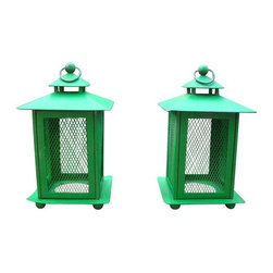 Used Rustic French Farmhouse Green Metal Lanterns - A sweet rustic pair of vintage French Country farmhouse green metal lanterns. Great vintage patina with a few characteristic dings. Fabulous candle covers for indoors or out!