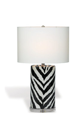 """Kathy Kuo Home - Kenya Modern Black and White Zebra Print Tea Jar Table Lamp- 28""""H - When it comes to exotic chic, there's nothing like a monochrome animal print lamp to add a little extra interest.  This porcelain zebra stripe lamp creates the perfect compliment to a contemporary exotic or even Hollywood Regency inspired space."""