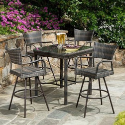 Tutto All-Weather Wicker Bar Height Dining Set - Seats 4 - Convert your patio, deck or outdoor space into a cool relaxation retreat with the Tutto All-Weather Wicker Bar Height Dining Set - Seats 4. This stylish five-piece bistro set is constructed from high-density polyethylene and hand woven onto high-grade powder-coated tubular frames for a unique and ultra tough craftsmanship that can't be beat. This top-of-the-line patio set blends the classic style of wicker furniture with modern design and durability.The four tall, bar height dining chairs are fully welded, with no hardware to loosen over time. The minimalist seat features a strong upright posture and open backing. For your convenience the table's glass surface can be removed for year-round use and features a central umbrella port so you can enjoy alfresco dining in the sun or shade.About Alfresco HomeOffering a wide selection of fashionable products, from casual furniture and garden lighting to permanent botanicals and seasonal decor, Alfresco Home casual living products offer a complete line of interior and exterior living furnishings and accents. Based out of King of Prussia, Penn., Alfresco Home continues to blend indoor and outdoor furniture to create a lifestyle of alfresco living inside and outside of the home. Inlaid mosaic tabletops, fine hardwood furnishings, artisan-inspired accents, premium silk botanicals, and all-weather wicker sets are just a few examples of the kind of treasures you'll find in Alfresco's specially designed collections.Please note this product does not ship to Pennsylvania.