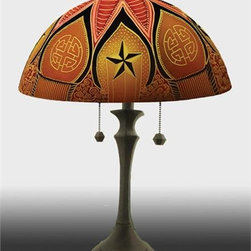 Barthell, Jamie - Lucky Reverse Hand Painted Glass Table Lamp - This beautiful hand painted glass table lamp shown here in the Lucky design will make a stunning addition to any room. Each piece is an original work of art that is signed and numbered, and includes a certificate of authenticity