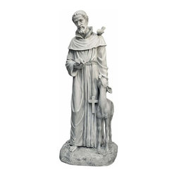 EttansPalace - Saint Francis Religious Garden Statue - When the Italian patron saint of nature blesses your garden, abundance is sure to follow! Exquisitely sculpted from his benevolent expression to his peaceful animal friends, our Design St. Francis sculpture is cast in quality designer resin and finished in faux antique stone for enjoyment throughout the seasons. Our St. Francis figurine will lend a peaceful welcome to your home or garden.