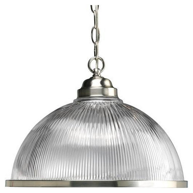 """Progress Lighting - P5103-09 Progress Lighting Prismatic Glass Domes - Progress Lighting P5103 Prismatic Glass Domes Large Pendant Prismatic Glass Domes One-Light Pendant ,. This product from Progress Lighting is available in brushed nickel. It is available with prismatic glass. Illuminated by one 150-watt frosted incandescent bulb. Ceiling Mount on chain. Prismatic glass dome. Includes 3 feet of chain. Covers outlet box. Mounting strap for outlet box included. UL Listed. Width: 15-1/4"""". Height: 11-1/2"""". Total Wattage: 150."""