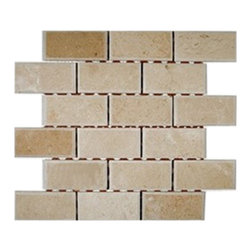 "Sample Crema Marfil Beveled 2x4 Tiles 1/4 Sheet - sample-CREMA MARFIL BEVELED 2x4 GLASS TILES 1/4SHEET SAMPLE You are purchasing a 1/4 sheet sample measuring approximately 3 "" x 12 "". Samples are intended for color comparison purposes, not installation purposes. -Glass Tiles -"