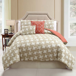 None - Sheridan 100-percent Cotton 5-piece Comforter Set - The Sheridan Collection makes your bedroom aesthetically appealing with a sequence of geometric patterns in calming earth-tone hues. Made out of 100-percent cotton fabric,the ensemble embraces you with endless comfort.