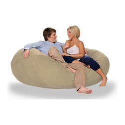 """jaxx - Cocoon Bean Bag Sofa - Features: -100% Shredded furniture grade urethane foam / nylon liner / polyester microsuede / premium microfiber exterior cover.-Luxury oversized foam filled bean bag chair.-Extremely versatile.-Lay it flat, turn it on its side or flip it up.-Liners are nylon rip stock with a child safety zipper.-Covers zip off for machine washing.-When flat it's a round crash pad perfect for hanging out, playing with the kids, watching TV or just dozing off.-Turn it on its side it's literally a cocoon.-Envelop yourself in an ergonomic lounge, legs up, neck supported, totally in sync with your every movement.-It's a retro beanbag style chair ready to kick back and snuggle with your honey.-Made in the USA.-Collection: Jaxx Bean Bags.-Distressed: No.-Material: Microsuede.-Fill Included: Yes -Fill Material: Urethane foam..-Removable Cover: Yes.-Product Care: Removable cover: machine wash cold, tumble dry..-Country of Manufacture: United States.Dimensions: -Overall Height - Top to Bottom: 27"""".-Overall Width - Side to Side: 72"""".-Overall Depth - Front to Back: 72"""".-Overall Product Weight: 50 lbs.Warranty: -Product Warranty: 1 year manufacturer parts warranty."""