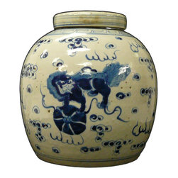 Golden Lotus - Vintage Chinese Blue & White Porcelain Ginger Jar Dogs - This is a decorative piece and collected from different places, the color and details varies from one to one. The bottom mark is different. But overall the design is almost the same.