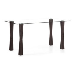 Zuo Modern - Stilt Counter Table Espresso - The Stilt table makes entertaining easy with its counter height and large expansive top. It has a thick tempered glass top attached to leatherette with stitching wrapped legs through fused aluminum plates, seats six easily.