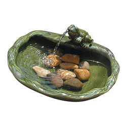 Smart Solar - Ceramic Solar Frog Fountain - Glazed Green - Solar powered green glazed ceramic frog water feature. Water flows through the frog's mouth and into the bowl. Creates a relaxing atmosphere in your garden, or on your patio, deck or balcony. Recycles water from the bowl. Operates in direct sunlight. Powered by a separate solar panel (included). Low voltage pump with filter. 10 ft cable to solar panel. No wiring, simply install and enjoy. No operating costs.