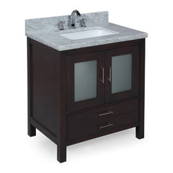Kitchen Bath Collection - Manhattan 30-in Bath Vanity (Carrara/Chocolate) - This bathroom vanity set by Kitchen Bath Collection includes a chocolate cabinet with tempered glass windows, soft close drawers and self-closing door hinges, double-thick Italian Carrara marble countertop (an incredible 1.5 inches at the edge!), single undermount ceramic sink, pop-up drain, and P-trap. Order now and we will include the pictured three-hole faucet and a matching backsplash as a free gift! All vanities come fully assembled by the manufacturer, with countertop & sink pre-installed.