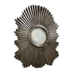 Arteriors - Arteriors Greer Mirror-Large - This scalloped then fluted wood mirror frame has been clad in metal sheet finished in antique silver. the convex mirror in the center is antiqued. Features saw tooth hangers.