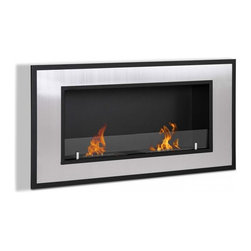 "Ignis Fireplaces - Ignis Bellezza Recessed Ethanol Fireplace - Inject a bold modern look to your space with this Bellezza Recessed Ventless Ethanol Fireplace. Designed to look sleek and streamlined this fireplace is perfect for a contemporary room. It has a large stainless steel frame that is trimmed in black to create a vibe that is posh and sophisticated. This ventless fireplace needs no gas or electric lines and does not require you to install a chimney. It burns clean and warm with a dual burner system that produces 12 000 BTUs of toasty welcoming heat. It comes with damper tool and everything you need to mount it right away so you can start enjoying it faster. Dimensions: 47.25"" x 23.75"" x 7.25""."