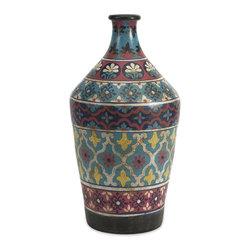 iMax - iMax Kabir Small Hand Painted Vase X-70237 - Globally inspired, this small hand painted vessel from India spices up any room with rich indigo contrasts and red accents.