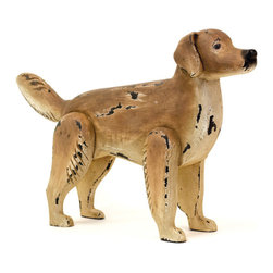 Happy Boy - This artsy figurine of dog, Happy Boy can be procured in wooden material with hand- painted finishing. The dog is magnificently painted with shades of brown with proper focus on highlights and shadows. The black color stripes have been randomly painted on the torso, legs and tail.
