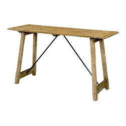 Wright Table Company - The No. 660 Console with Iron Stretchers, Oak, Ceruse Finish - No. 660 Console with Iron Stretchers