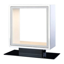 """Quasar - Quasar Window Table Lamp - The Window Table Lamp has been designed by Jos Muller for Quasar. This fixture is composed of Aluminium polished and Corian inside, with integrated dimmer. Available in two finish option Aluminium and Corian. Illumination is provided by 12W LED Citizen 2700K Halogen Bulb (not included).  Product Details:    The Window Table Lamp has been designed by Jos Muller for Quasar. This fixture is composed of Aluminium polished and Corian inside, with integrated dimmer. Available in two finish option Aluminium and Corian. Illumination is provided by 12W LED Citizen 2700K Halogen Bulb (not included).   Details:     Manufacturer:  Quasar   Designer:  Jos Muller     Made in:  Netherlands     Dimensions:  Height: 11.6"""" (29.4 cm) X Width: 9.8"""" (25 cm)       Light bulb:   12W LED Citizen 2700K     Material:  Aluminium and Corian"""