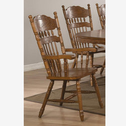 2 PC Country Oak Wood Dining Arm Chairs Splat Back Traditional 104273 - Features