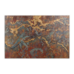 Uttermost - Stormy Night Abstract Wall Art - This Frameless, Hand Painted Oil On Canvas Is Stretched And Attached To Wood Stretching Bars. Due To The Handcrafted Nature Of This Artwork, Each Piece May Have Subtle Differences.