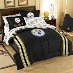 Northwest Co. - NFL Pittsburgh Steelers Bed in Bag Set - Web Description: Make a proud statement in your room for your favorite NFL team with our 5 piece Bed in a Bag Set. Whether game night or just another night for sleeping, the bold and large applique logo stands out against the solid color background and team color accented stripes, making quite the impression. This polyester/cotton blend twin set comes with 1 sham, 1 pillowcase, 1 flat sheet, 1 fitted sheet and 1 applique comforter. The full set comes with 2 sham, 2 pillowcase, 1 flat sheet, 1 fitted sheet and 1 applique comforter.