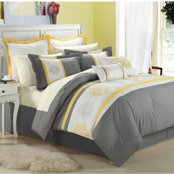 None - Beijing Yellow 12-piece  Bed in a Bag with Sheet Set - This 12-piece lavish comforter set comes with everything you need to do a complete makeover for your master or guest suite. Detailed embroidery highlight the true essence of look that you are trying to achieve in elegant home decor.