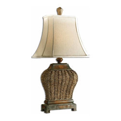 Uttermost - Augustine Table Lamp - Adding beautiful lighting to a room is the best way to bring in style and warmth. Whether you place this elegant lamp next to your bed or living room sofa, you'll be getting a classic look with just the flip of a switch. The slightly distressed base paired with the hand sewn shade is a win-win design for your home.