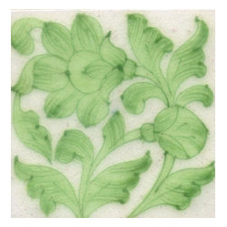 """Knobco - Tiles 3X3""""Inch, Lime Green Flowers And Leaf With White Base - Lime Green Flowers and Leaf with White Base Tiles from Jaipur, India. Unique, hand painted tiles for your kitchen or other tiling project. Tile is 3x3"""" in size."""