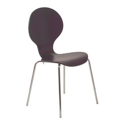 Euro Style - Bunny Side Chair (Set Of 4) - Wenge/Chrome - This chair has a fabulous figure!   Lovely flowing lines combine a naturally shaped back with a perfectly contoured seat.   The result is a masterpiece of simplicity.