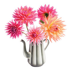 OOTS! - Flat Flowers Originals Dahlia Coffee Pot - Keep your neighbors guessing why you always have such beautiful, fresh flowers featured on your windowsill. Bright blooms of fresh Dahlias are modestly displayed in a silver coffee pot with this version of Flat Flowers. The three dimensional effect adds to the intrigue.