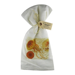 Jelly Fish    Flour Sack Towel  Set of 2 - A fabulous set of 3 flour sack towels. This set features a wonderful antique print of a Pink Flamingo.   These towels are printed in the USA by American Workers!