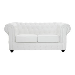 Chesterfield Loveseat - There is something very recognizable about the Chesterfield Armchair. While fashioned with a tufted back, and large rounded arms, the most distinctive aspect is arguably the deep buttons. Their careful positioning throughout helps portray both an aristocratic and settled feel at the same time. First named in 1900 after the Earl of Chesterfield who commissioned it, recognize the ability to join individual elements as you completely inspire your room.