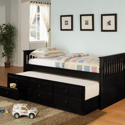 Coaster - Transitional Twin Size Daybed - Black in Black - This daybed collection can provide a comfortable place to lounge during the day, and cozy spot to sleep at night. A convenient trundle below allows you to easily accommodate overnight guests, pulling out simply to provide an extra twin size sleeping space. Three spacious storage drawers below the trundle offer lots of space for clothing and extra linens, so you can make the most of your room. Available in black, white, and rich medium cherry finishes.