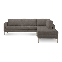 Blu Dot - Blu Dot Paramount Right Sectional Sofa, Ash - As comfortable as your favorite jeans. As versatile as a little black dress. This classic lounge can go anywhere in style but don't be surprised if it steals the limelight in its own quiet way. Available in ash, ceramic, lead, oatmeal, smoke or stone.