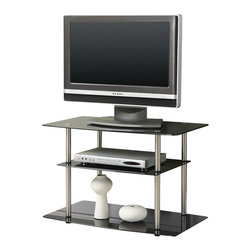 "Convenience Concepts - Convenience Concepts Classic Glass 32"" Black Glass TV Stand X-230751 - Designs2Go&trade: Midnight Classic Black Glass 32"" TV Stand is the perfect complement to any living room d&#233:cor. Featuring an open modern design that allows for easy cable management and 3 tempered black glass shelves that will gives you plenty of room for all of your media components.  Surely will provide years of enjoyment"
