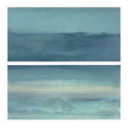 """Drift with the Tide, Large Original Abstract Painting Set by Victoria Kloch - Drift with the Tide - 2 painting set. 36"""" x 36"""" acrylic on canvas each piece measures 18"""" x 36"""" x 7/8"""""""