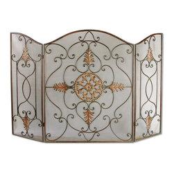 Uttermost - Egan Wrought Iron Fireplace Screen - This attractive fireplace screen is made of wrought iron.