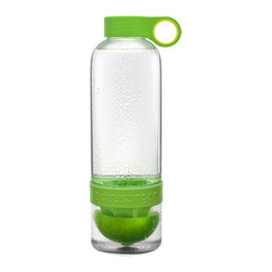 Zing Anything - Green Citrus Zinger and Fruit Infuser - Creating delicious lemonades, limeades, and orangeades, the Citrus Zinger flavor infuser is great for the active, on-the-go water drinker.  The bright green zinger offers you an easy way to extract juice and flavor from citrus fruits by infusing them directly to your water bottle. Citrus zinging is great for active, on-the-go water drinker. Take it to yoga, the office, and around town. Enrich your water with vitamin C and flavoring, and let the citrus zinger take you to that sunny, perfect day you long for every day!  * Capacity: 28 oz * Carbonated water friendly * Easy to add ice via the bottom opening * Imported bottles with American made BPA free plastics  To make your own vitamin-enriched water, you start by adding fresh fruits and veggies to the compartment in the base of the bottle. Then, twist the bottom cap to pulverize the ingredients.