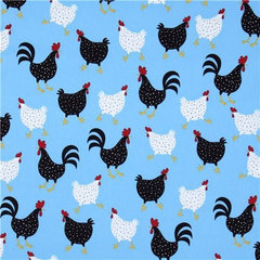 fabric blue chicken fabric Robert Kaufman USA designer