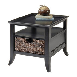 Liberty Furniture - End Table in Rubbed Black Finish - Charming transitional style. Hand-woven baskets. Ample storage. Multi-step hand applied finish. Warranty: One year. Made from hardwood solids and veneers. Minimal assembly required. 23 in. W x 27 in. D x 24 in. H (62 lbs.)