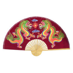 "Oriental-Décor - Velvet Maroon Dragons, 40"" Width - Bring your walls to life with this Velvet Painting Wall Fans Velvet Maroon Dragons. This vibrantly colored maroon velvet wall fan is set on bamboo frames, for that authentic Oriental elegance. The fan depicts a pair of colorful dragons facing each other, carefully hand painted on luxurious velvet. If you plan to decorate with Asian themes or add to your growing collection of Oriental collectibles, this beautiful wall fan is a stylish choice. The dragon pair painting is also a harbinger of good fortune and triumph. Introduce a more positive, graceful vibe in your home or office with this fan art. It also comes with an optional table stand, for easy decorating on shelves and tables. Whether used as Asian-inspired wall art, as an interesting table piece, or as an ingenious headboard for your bed, this velvet wall fan is sure to be an attraction in your home. This wall fan makes the perfect birthday or anniversary gift, too!"