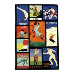 Safavieh - Sports Theme Posters Rug (6 ft. x 9 ft.) - Size: 6 ft. x 9 ft.. Hand Tufted. Made of Wool.
