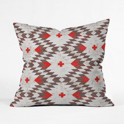 Gray Native Pillow Cover - Inspired by the Ganado style of Navajo weaving, this cool-toned geometric pillow cover sports a rustic, textural look with eye-catching pops of red. Throw it over your couch, bed, or your favorite reading chair.