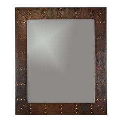 Premier Copper Products - 36 in. Hand Hammered Rectangle Copper Mirror - Configuration: Rectangle. Design: Hammered Copper Surface with Hand Forged Rivets. Color: Oil Rubbed Bronze. Inner Dimension 28 in. x 23 in. x 1 in.. Outer Dimension: 36 in. x 31 in. x 1 in.. Installation Type: Wall Mount / Horizontal or Vertical. Material Gauge: Industry Best (18 Gauge Wrapped Around MDF Plywood). Hand Made. Mirror: Included. 100% Recyclable. Composition: 99.7% Pure Recycled Copper. Lead Free (