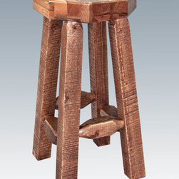 "Montana Woodworks - Homestead Barstool, no Back, Stained and Lacquered, Standard Wooden Seat - From Montana Woodworks, the largest manufacturer of handcrafted, heirloom quality rustic furnishings in America comes the Homestead Collection line of furniture products. Handcrafted in the mountains of Montana using solid, American grown wood, the artisans rough saw all the timbers and accessory trim pieces for a look uniquely reminiscent of the timber-framed homes once found on the American frontier. This simple yet elegant barstool will bring rustic beauty to any room of your home. Perfect for the bar, the bistro table or anywhere a touch of rustic completes the scene. Built with durability in mind. Constructed using the time proven mortise and tenon joinery system, this barstool will last for generations. The barstool comes topped with an octagonal piece of 2.5"" thick, solid wood seat. Seat height is 30"" Comes fully assembled. 350 pound capacity. 20-year limited warranty included at no additional charge. Hand Crafted in Montana U.S.A.; Solid, U.S. grown wood; Timbers and Trim Pieces are Sawn Square for Rustic Timber Frame Design Appearance; Heirloom Quality; 20 Year Limited Warranty; Durable Build, Fit and Finish; Each Piece Signed By The Artisan Who Makes It; Solid genuine lodge pole pine; Ideally Suited for Smaller Spaces. Dimensions: 12""W x 12""D x 30""H"