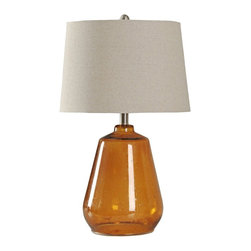 """Lamps Plus - Contemporary Cognac Glass Table Lamp - Simple yet bold this table lamp will surely catch the attention of visitors. It is a strong piece constructed out of a bold orange glass. The white linen lampshade beautifully contrasts the overall design. Contemporary orange table lamp. Cognac finish. Glass construction Lampshade is linen. Maximum 100 watt or equivalent bulbs for all three lamps (not included). Rotary Switch. Shade is 15"""" across the bottom 13"""" across the bottom and 10"""" high. Base is 7"""" wide round. 25"""" high.   Contemporary orange table lamp.  Cognac finish.  Glass construction  Lampshade is linen.  Maximum 100 watt or equivalent bulbs for all three lamps (not included).  Rotary Switch.  Shade is 15"""" across the bottom 13"""" across the bottom and 10"""" high.   Base is 7"""" wide round.  25"""" high."""